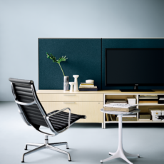 Office furniture design from Herman Miller with Eames Aluminum Group Chairs, Canvas Storage, and Eames Occasional Table with marble top.