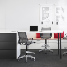 Collaborative office furniture Birmingham from Herman Miller. Setu Stool and Meridian Storage Lateral Files.