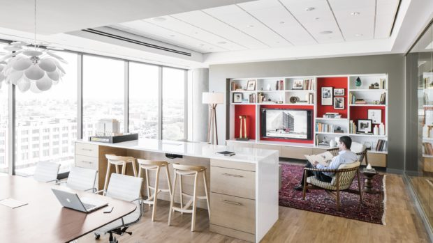 Geiger Crosshatch Chairs with open office surface and barstools. Herman Miller Lighting.