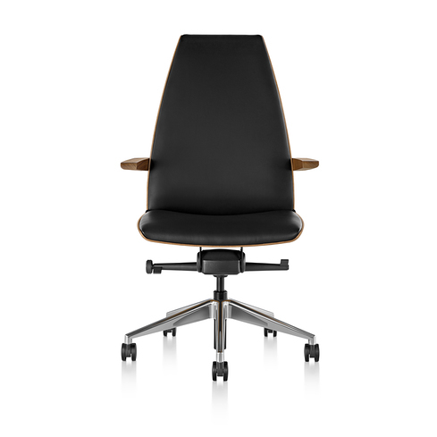 Clamshell Conference Chair High Back Arm Walnut Front View