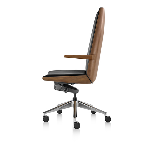 Clamshell Conference Chair High Back Arm Walnut Profile View