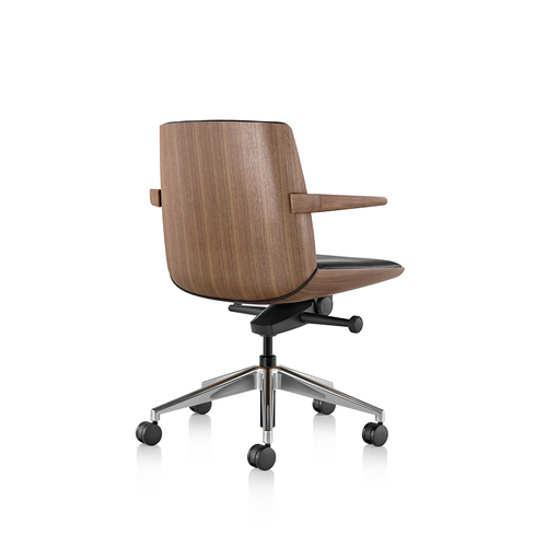 Clamshell Conference Chair Mid Back Arm Walnut Back View