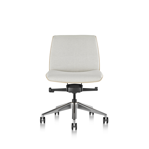 Clamshell Conference Chair Mid Back Armless Ash Front View